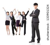 cheerful business man and woman ... | Shutterstock . vector #133901324