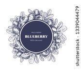 vector frame with blueberry.... | Shutterstock .eps vector #1339044479