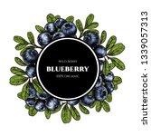 vector frame with blueberry.... | Shutterstock .eps vector #1339057313