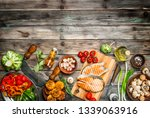 grilled salmon steaks with... | Shutterstock . vector #1339063916