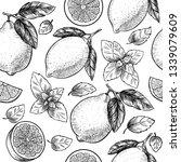 lemons  and mint. vector... | Shutterstock .eps vector #1339079609