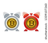 bitcoin and alarm clock. time... | Shutterstock .eps vector #1339107260