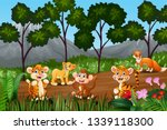 group of wild animals gathering ... | Shutterstock .eps vector #1339118300