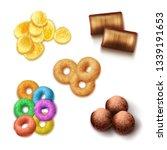vector set of realistic crispy... | Shutterstock .eps vector #1339191653