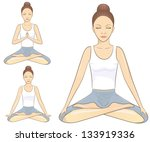 meditation poses | Shutterstock .eps vector #133919336
