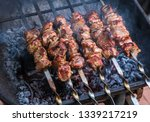 Cooking Grilled Shish Kebab On...
