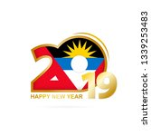 year 2019 with antigua and... | Shutterstock . vector #1339253483