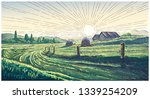 rural landscape with dawn in... | Shutterstock .eps vector #1339254209