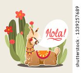 illustration with llama and...   Shutterstock .eps vector #1339257689