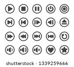 media player button icon set...