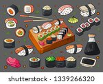 hand drawn japan sushi and... | Shutterstock .eps vector #1339266320