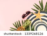 summer flat lay background.... | Shutterstock . vector #1339268126