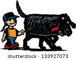 Stock vector vector illustration of little girl walking big dog 133927073