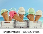 ice cream on beach and summer... | Shutterstock . vector #1339271906