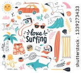 love surfing collection. vector ... | Shutterstock .eps vector #1339273433