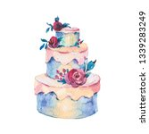watercolor fantasy wedding cake ... | Shutterstock . vector #1339283249