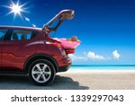 summer car on beach and sea... | Shutterstock . vector #1339297043