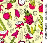 dragon fruit pattern. all... | Shutterstock .eps vector #1339338233