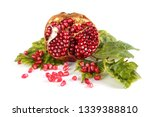 pomegranate half and autumn...   Shutterstock . vector #1339388810