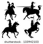 Knights And Horses Fine Vector...