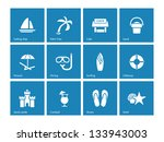 Beach Icons On Blue Background. ...