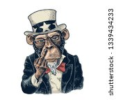 monkey uncle sam with raised... | Shutterstock .eps vector #1339434233