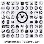Vector Black Clocks Icon Set O...