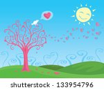 bird sings about love on top of ... | Shutterstock .eps vector #133954796
