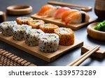 sushi set uramaki and spicy... | Shutterstock . vector #1339573289