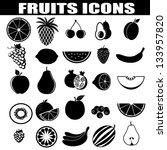 fruits icons set on white... | Shutterstock .eps vector #133957820