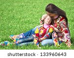 mom and daughter play in the... | Shutterstock . vector #133960643