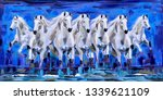 Stock photo white seven running horses texture blue background abstract canvas oil painting 1339621109