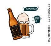 bottle of beer and glass... | Shutterstock .eps vector #1339650233
