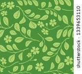 green leaves with flowers on... | Shutterstock . vector #1339653110