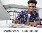 smiling bearded man using... | Shutterstock . vector #1339701209