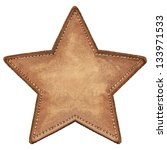 Star shape leather label ...