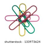 Colored Paper Clips On A White...
