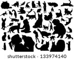 Stock vector cats silhouettes 133974140