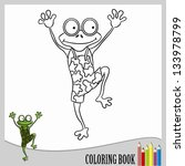 coloring book   jumping frog ... | Shutterstock .eps vector #133978799