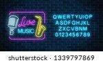 neon signboard of live music... | Shutterstock . vector #1339797869