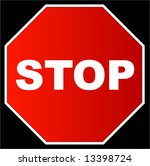red stop sign against a black... | Shutterstock . vector #13398724