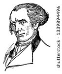 Elbridge Gerry 1744 to 1814 he was an American statesman diplomat the fifth vice president of the United States and ninth governor of Massachusetts vintage line drawing or engraving illustration