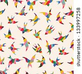 Stock vector spring birds seamless pattern colorful texture on white background 133997258