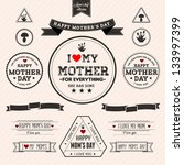 set of vintage happy mothers... | Shutterstock .eps vector #133997399