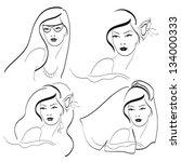 woman faces   Shutterstock .eps vector #134000333