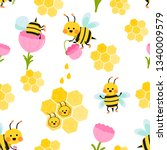 seamless pattern with flying... | Shutterstock .eps vector #1340009579