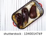 baked eggplants on baking paper ... | Shutterstock . vector #1340014769