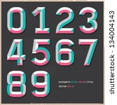 alphabet numbers vintage colour ... | Shutterstock .eps vector #134004143