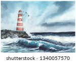 Lighthouse And The Raging Sea....