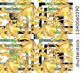 gold monogram floral ornament.... | Shutterstock . vector #1340060390